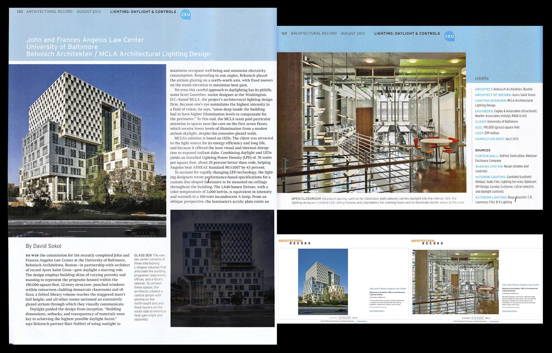 Architectural Record August 2013 Issue John & Frances Angelos Law Center at the University of Baltimore