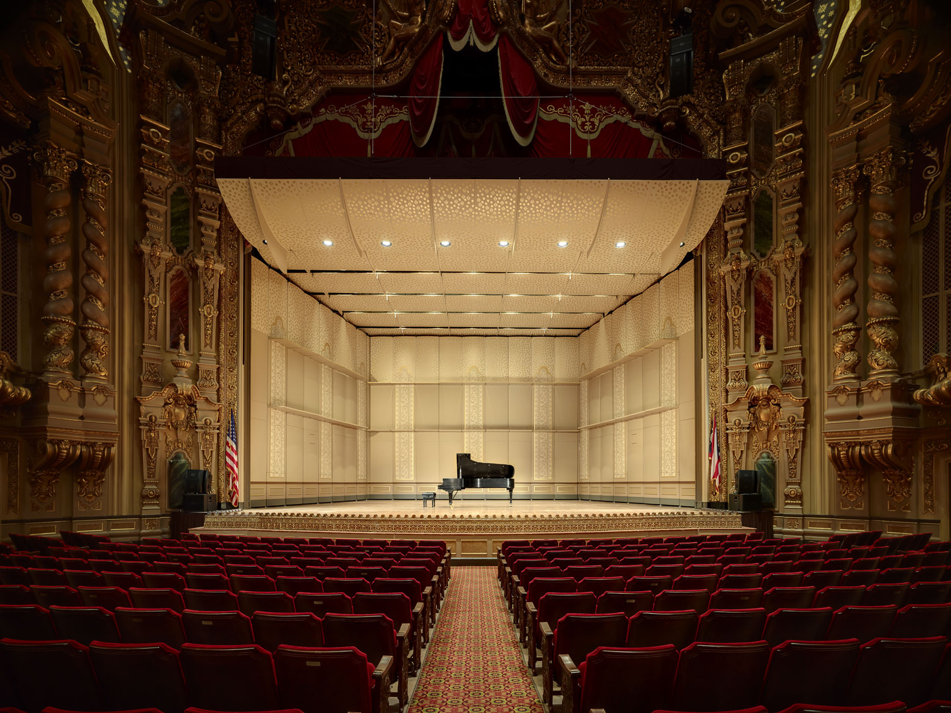 The Ohio Theater Orchestral Band Shell by Rogers Krajnak Architects photographed by BRad Feinknopf based in Columbus, Ohio