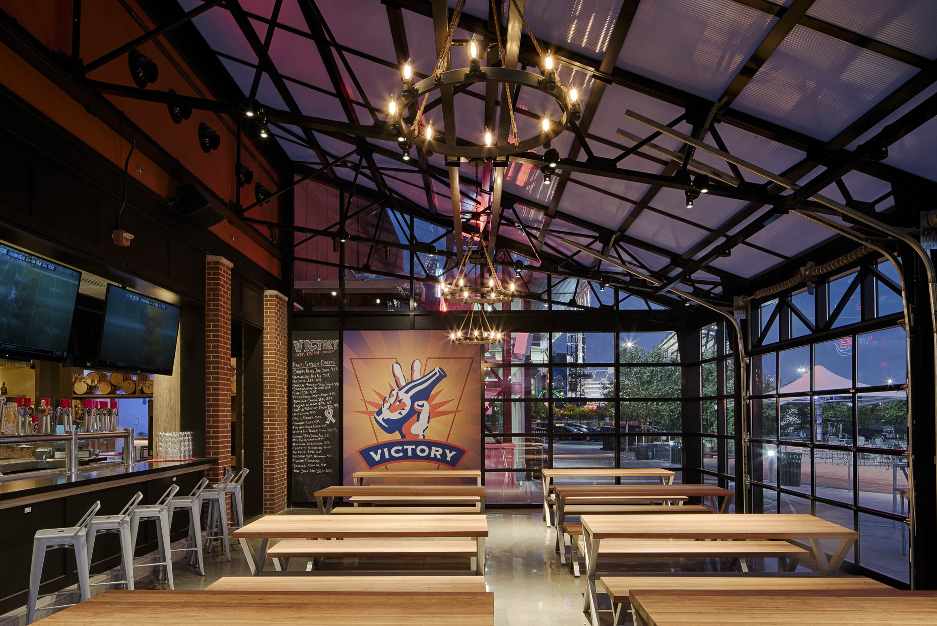 Victory Beer Hall at XFinityLive! Philadelphia by FRCH Design Worldwide photographed by Lauren K Davis based in Columbus, Ohio